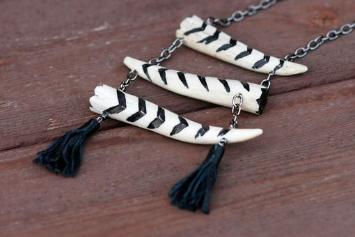 Custom Made Chevron Necklace Made With Antler Bone, With 3-Tier Tower On Gunmetal Chain