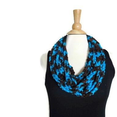 Custom Made Crochet Infinity Scarf Cowl - Summer Accessory - Blue And Brown