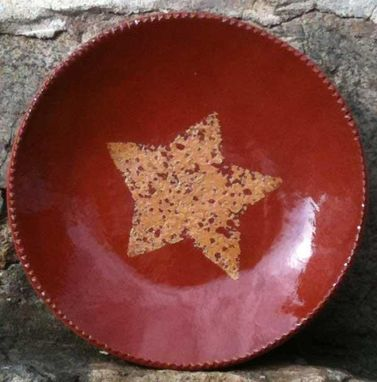 Custom Made Slipware Ceramics, Red With White Star