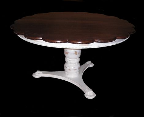 Custom Made French Country Dining Table With Beaded Scalloped Edge