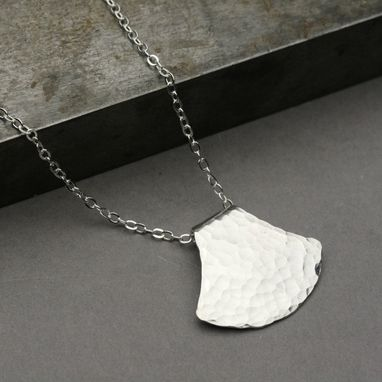 Custom Made Fan Shape Silver Pendant, Sterling Silver Pendant Necklace, Hammered Silver Pendant