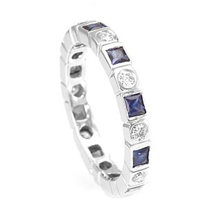 Custom Made Unique 14k Diamond And Blue Sapphires Eternity Band, Eternity Band, Colored Stone Band