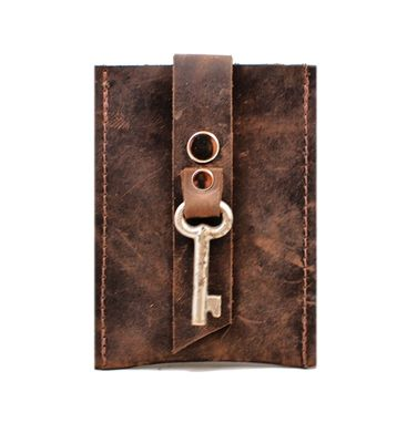 Custom Made Pop-Up Leather Card Wallet And Business Card Holder With Antique Key