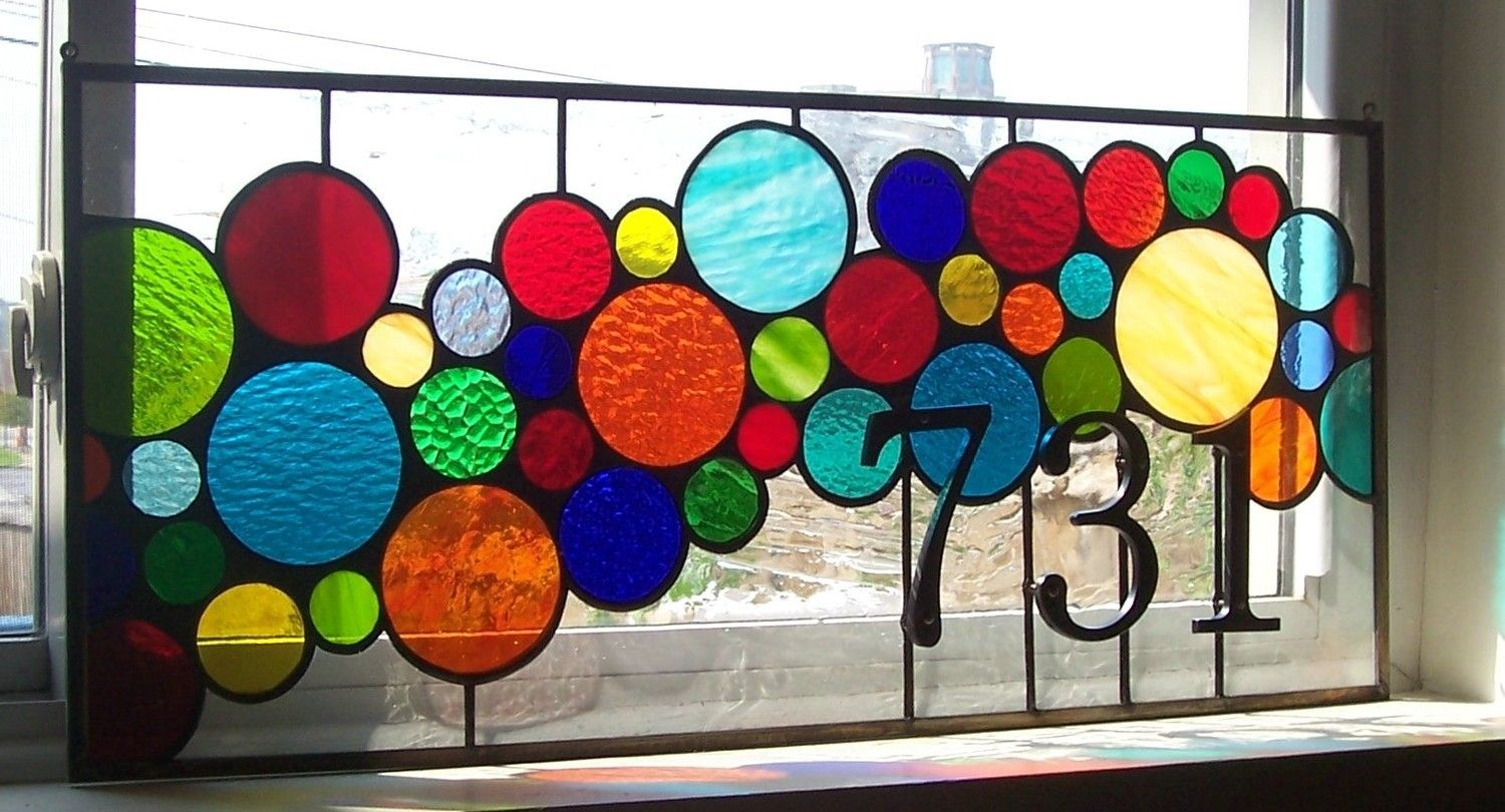 Hand crafted stained glass window panel bright and for Custom transom