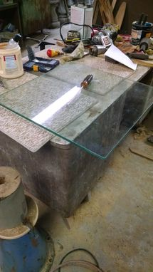 Custom Made Display Table Sinker Cypress Glass Top, Metal Stand