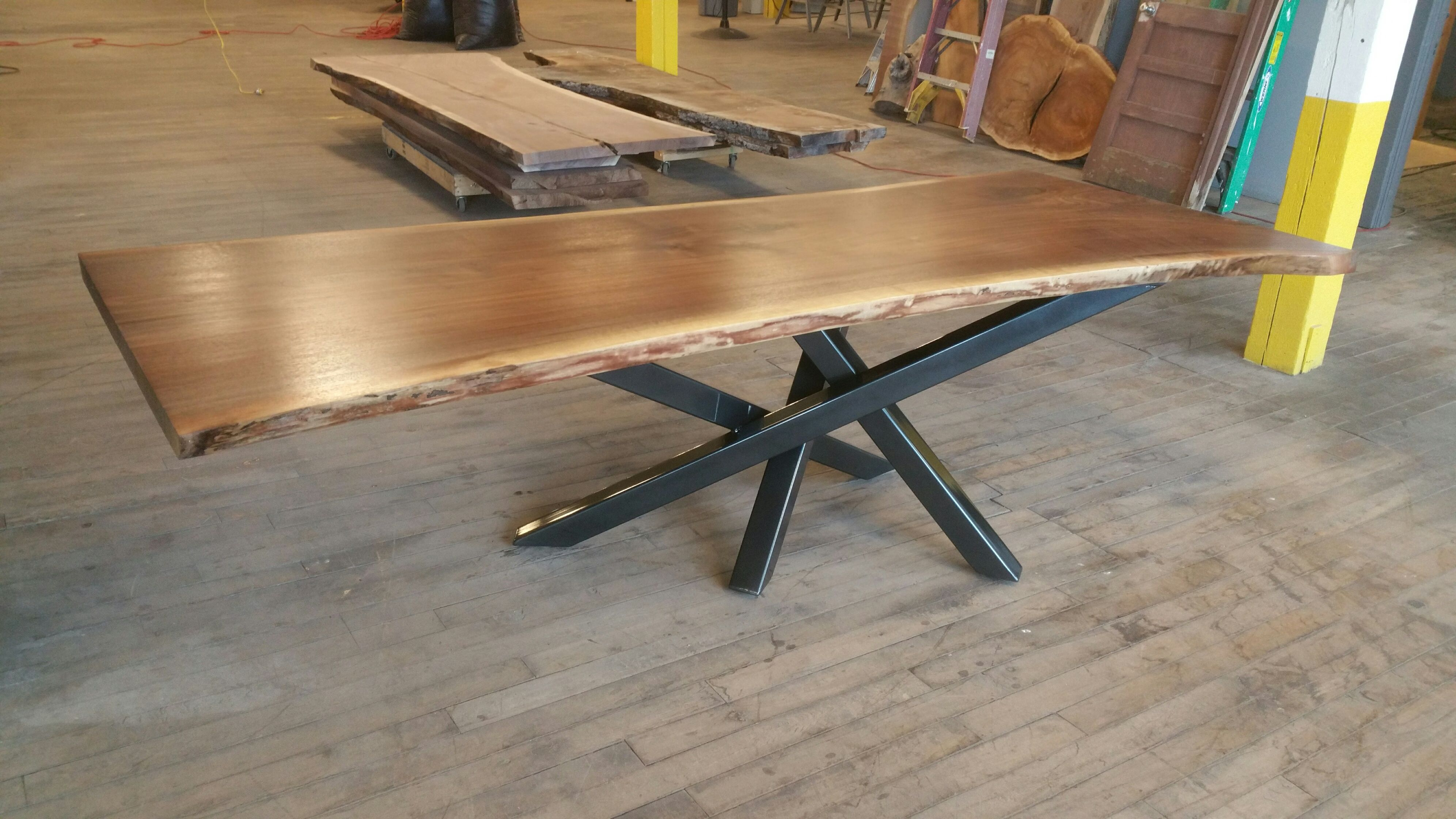 Hand Made Walnut Table With Cross Over Base By Donald Mee