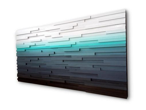 Custom Made Abstract Ocean Landscape, Modern Wood Wall Art, Blue Home Decor