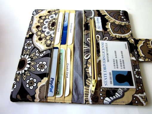 Custom Made Handmade Women Wallet Large Flowers Yellow Gray Brown Id Clear Pocket Ready To Ship