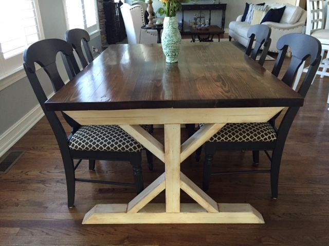 Hand Made V Trestle Farmhouse Style Table By Sawdust