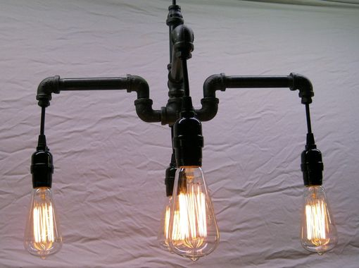 Custom Made Industrial - Steampunk Black Malleable Iron 4-Bulb Chandelier