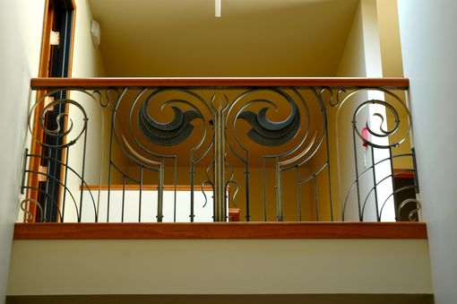 Custom Made Forged Art Deco Style Railing With Cherry Handrail
