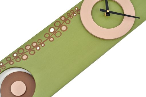 Custom Made Long Wall Clock With Pendulum - Olive Green, Circle Design