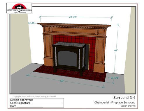 Custom Made Federal Style Fireplace Surround - In Cherry With Complex Antiqued Finish