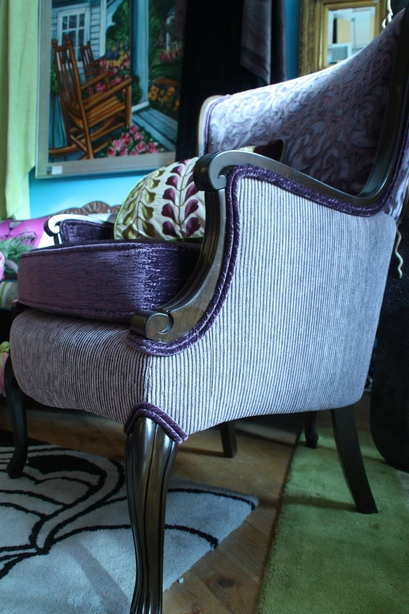 Custom Upholstered Vintage Wood Show Arm Chair Upholstered