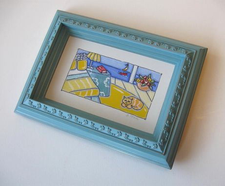 Custom Made Framed Acrylic And Ink Painting Beach Animal Still Life