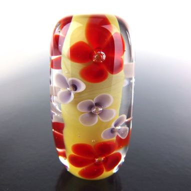 Custom Made Dijon Floral Bead Handmade Lampwork Glass By Gemfox Sra Usa