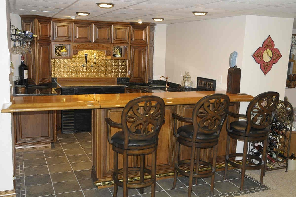 Handmade Custom Bar With Cherry Wood Bar Top by Property ...