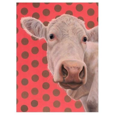 Custom Made Cow Magnet - White Cow With Polka Dots - Cow Art - Ten Percent Benefits Animal Charity