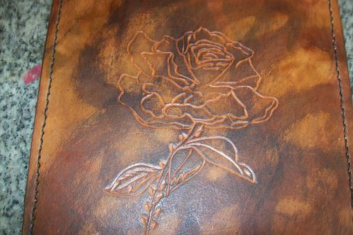 Custom Made Custom Leather Mouse Pad With Rose Design