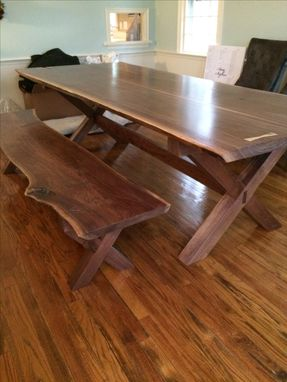 Custom Made X Leg Trestle Table And Bench.