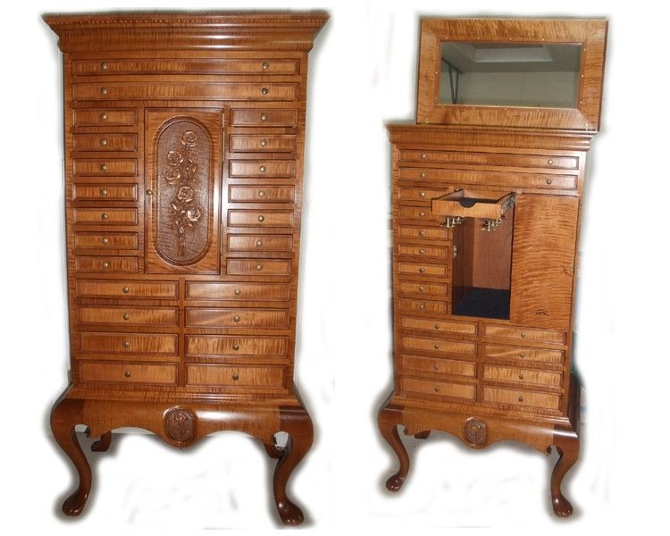 Hand Made Jewelry Armoire By Wood N Reflections