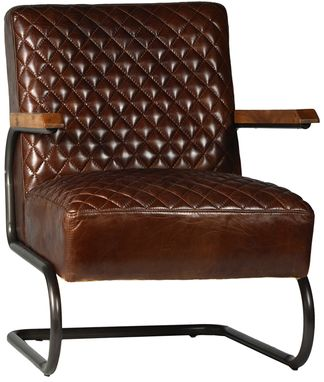 Custom Made Culver Diamond Tuft Leather Lounge Chair