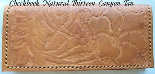 Custom Made Custom Leather Checkbook Cover With Natural 13 Design And In Canyon Tan