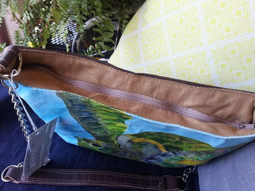 Custom Made Sea Turtle Handbag, Tote, Fine Art , Leather Body, Handbag Featuring Original Acrylic Painting