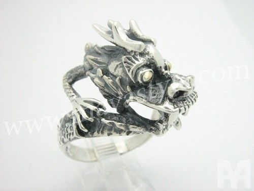 Custom Made Sterling Silver Dragon Ring With 18 K Gold Eyes - Bague