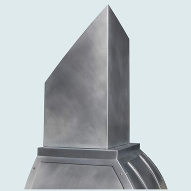 Custom Made Zinc Range Hood With Angled Stack & Zinc Straps