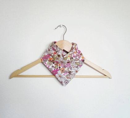 Custom Made Flower Doodle Print Reversible Bandana Bib For Baby