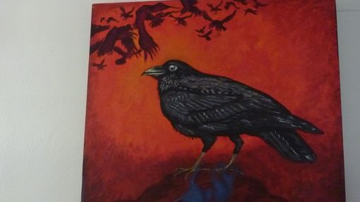 Custom Made Acrylic Painting Of Raven