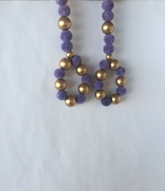 Custom Made Purple Velvet Small Balls,Gold Beads.L-3' ,W-1'