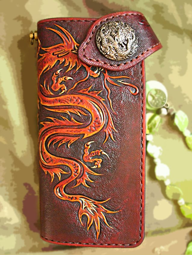a6459dea5a2c Buy a Custom Tooled Biker Wallet Leather Dragon Red Gold Hand Carved ...