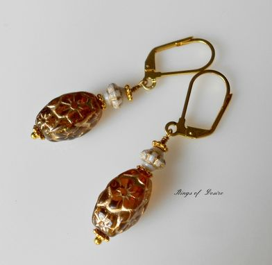 Custom Made Sold Out Earrings Czech Glass Amber And Gold With Vintage Molded Glass