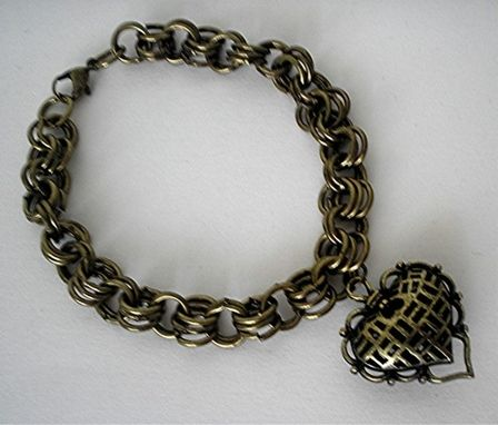 Custom Made Vintage Bronze Heart Bracelet