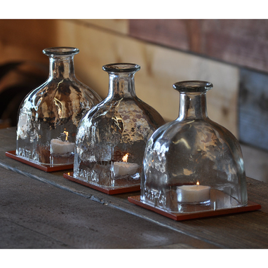 Custom Made Patron Bottle Hurricane Lamp Table Centerpieces With Hand Painted Glass Tiles