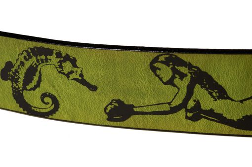 Custom Made Leather Belt- Mermaids And Sea Creatures