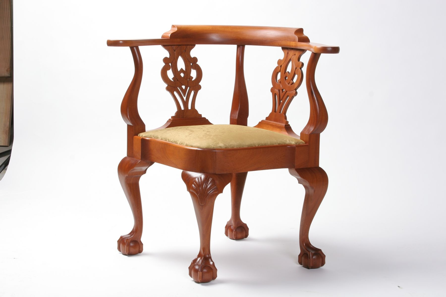 Handmade Chippendale Mahogany Corner Chair by W Mickey Callahan