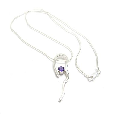 Custom Made Long Amethyst Sterling Silver Pendant - Squiggle Pendant - Organic Shape - Fluid Design