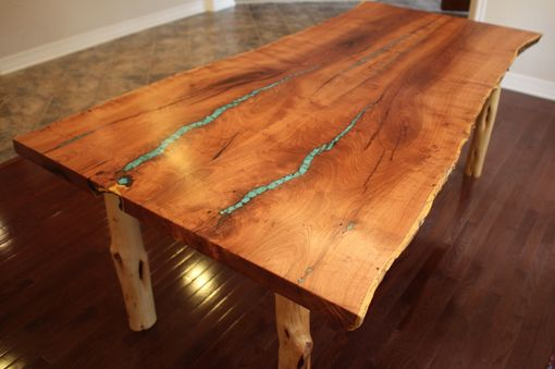 Custom Made Turquoise Inlay Mesquite Dining Table By Aaron