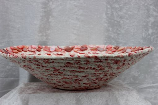Custom Made Fabric Bowl - Fabric Art - Home Decor - Large V-Shaped Bowl. Wrapped Clothesline