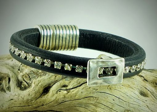 Custom Made Crystal Leather Bracelet With Silver Buckle And Striped Magnetic Clasp