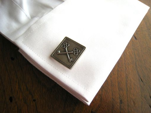 Custom Made Sterling Silver Crossed Key Cufflinks