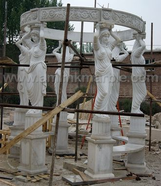 Custom Made Marble Garden Gazebo Carved With Statues