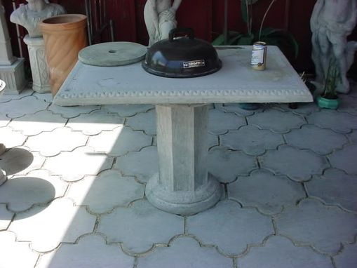 Custom Made Con-Verta-Table 42 In. Bar-B-Que Table & Octagon Concrete Pedestal