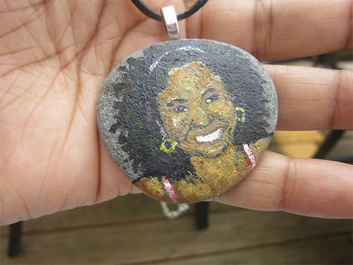 Custom Made Custom Painted Portrait Beach Stone Rock Necklace