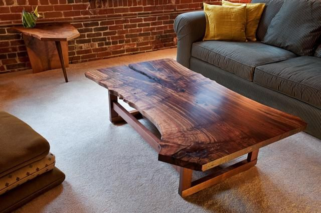 Handmade live edge walnut slab coffee table by infusion for Wood slab coffee table