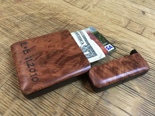 Custom Made Redwood Burl Wood Wallet, Business Card Holder