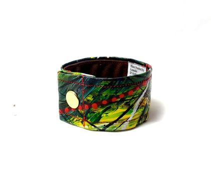 Custom Made Forest Green And Yellow Rustic Painted Cuff - Unique Contemporary Jewelry